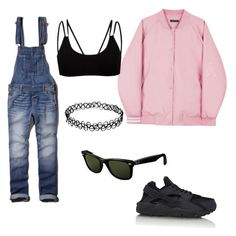 """""""Denim X Black X Pink"""" by ksubulade ❤ liked on Polyvore featuring NIKE, Abercrombie & Fitch and Ray-Ban"""