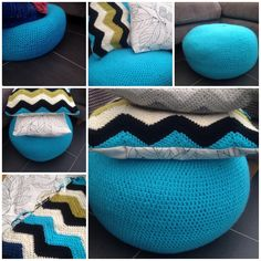 Weekend project, my easy to make crochet pouf and cushion.