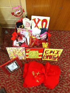 Chi Omega Clue Week Basket - Super cute, might have to try some of this for my future Pi Phi little