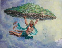 Hanuman Indian Gods, Indian Art, Hanuman Chalisa, Lord Vishnu, Krishna Art, Gods And Goddesses, Hinduism, Gallery, Artwork