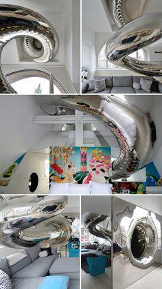 80-foot indoor slide in an NYC home
