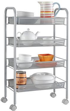 LANGRIA Wire Mesh Rolling Stainless Steel Kitchen Cart