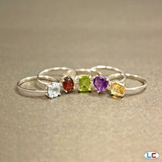 Multi-Gemstone Set of 5 Rings in Sterling Silver (Nickel Free) | Liquidation Channel