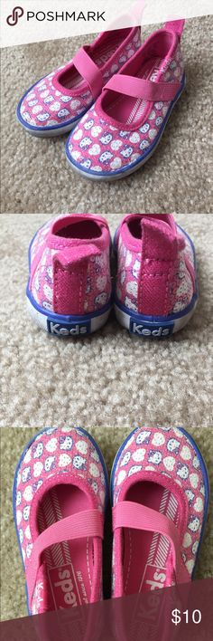 Hello Kitty Keds slip ons Cute sequined Hello Kitty design. Elastic across foot for secure support. Used 5-6 times. Keds Shoes Sneakers