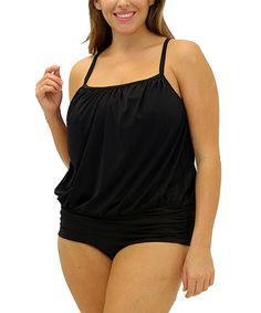 Look what I found on #zulily! Fit 4 U! Black Blouson Tankini Top - Plus by Fit 4 U! #zulilyfinds