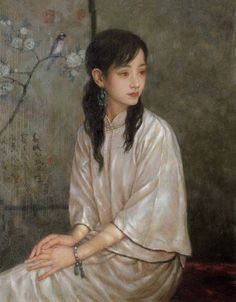 woman in white, by Zhong Guang Dai