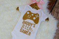 Daddy's Little Gamer Shirt Video Game Baby by HauteBelliesShop