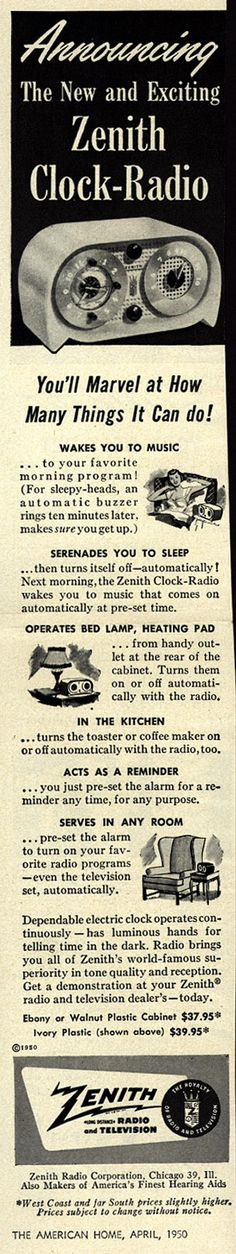 Vintage Zenith Ad - 1950 - I find this hilarious...New and Exciting!!!