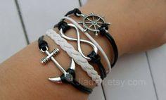 Bracelet  black wax rope white weaving bracelet ancient by Jiadan, $10.69