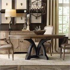 "Lowest price online on all Hooker Furniture Corsica 54"" Round Dining Table with 18"" Leaf in Dark and Light Wood - 5280-75213"