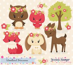 INSTANT DOWNLOAD, fall woodland clipart and vectors for personal and commercial use by JessicaSawyerlol