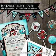 Hey, I found this really awesome Etsy listing at https://www.etsy.com/listing/184360479/rockabilly-baby-shower-invitation-party