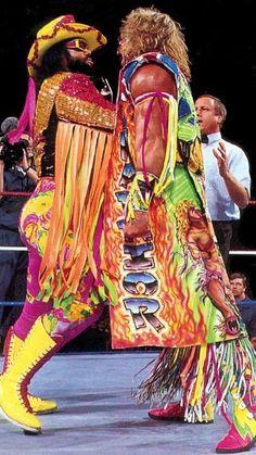 """""""Macho Man"""" Randy Savage and the Ultimate Warrior. Wwf Superstars, Wrestling Superstars, Watch Wrestling, Wrestling Wwe, Wrestling Outfits, Figuras Wwe, Attitude Era, Lucha Underground, Wwe Tna"""