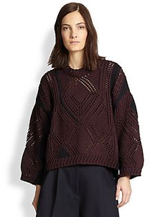 3.1 Phillip Lim Pointelle Cable-Knit Sweater