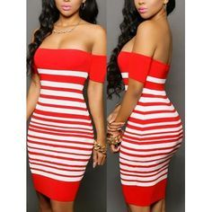 USD7.99Charming Bateau Neck Off The Shoulder Short Sleeve Red-white Striped Polyester Sheath Mini Dress