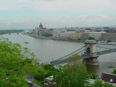The River Danube splits Buda and Pest (Budapest), Hungary.