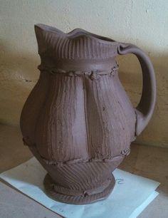In progress... Hand Built Pottery, Slab Pottery, Ceramic Pottery, Ceramic Pitcher, Ceramic Clay, Wabi Sabi, Tea Pots, Carving, Texture
