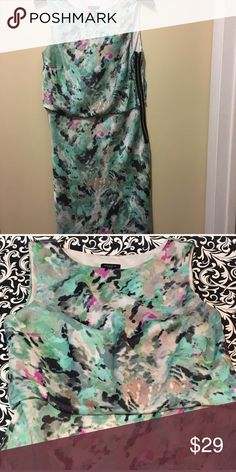 """Ann Taylor watercolor dress, size 6 Like new Ann Taylor watercolor dress, size 6. Fully lined, blousy top, decorative side zipper. 37-1/2"""" length, 18"""" underarm to underarm, 5-1/2"""" neck depth. Shell: 99% polyester, 1% spandex. Lining: 94% polyester, 4% spandex. Ann Taylor Dresses Midi"""