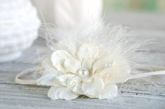Creamy Ivory Flower Headband with Vintage Veiling and Feathers on Ivory Skinny Band - perfect for newborn photo shoots, baby, girls, women