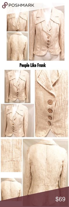 "🍀 People Like Frank Oatmeal Beige Tan Jacket XL People Like Frank Peplum Oatmeal Cotton Linen Blend Beige Tan Jacket Blazer XL No stains No holes No pills   Unlined  Bust 20"" (armpit to armpit) Shoulders 17"" (top of shoulder seam to top of shoulder seam) Length 25"" (middle top of collar to bottom hem in back)  Sleeve length 22"" (top of shoulder seam to bottom sleeve hem) 🛍For the best deal, I offer a bundle discount! Please check out my closet for other fabulous items!🛍 People Like Frank…"