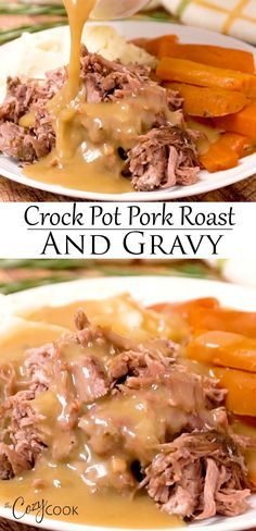 This Crock Pot Pork Roast is an easy dinner idea that's perfect for busy weeknights. PLUS, it makes plenty of delicious gravy! This Crock Pot Pork Roast is an easy dinner idea that's perfect for busy weeknights. PLUS, it makes plenty of delicious gravy! Crockpot Dishes, Crock Pot Slow Cooker, Crock Pot Cooking, Pork Dishes, Crockpot Recipes, Crock Pot Pork, Crock Pot Dinners, Pork Roast Recipes, Pork Roast Crockpot