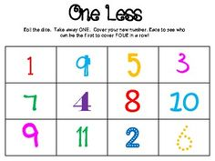 One Less Math Game... could make a board for 1 more....... doubles.... half it.... I'll try it! LH