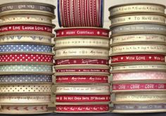 LARGE SELECTION STRIPES SNOWFLAKES HAPPY MERRY CHRISTMAS RIBBONS 5 METRES