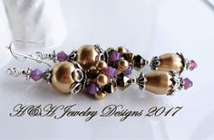 Purple Gold Pearl Crystal Cluster Earrings, Antique Silver Pearl Earrings, Long Gold Pearl Earrings, Silver Gold Jewelry, Purple Earrings by hhjewelrydesigns on Etsy