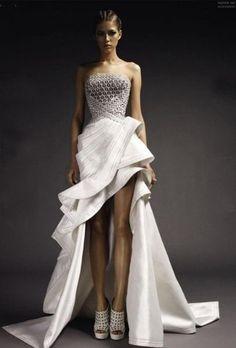 amazing white dress with flounces
