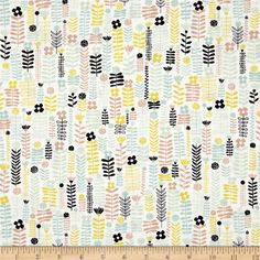 Erin McMorris Distrikt Greenway Spring from @fabricdotcom  Designed by Erin McMorris for Free Spirit, this fabric is perfect for quilting, apparel and home decor accents. Colors include tan, citron, mint, white, and black.