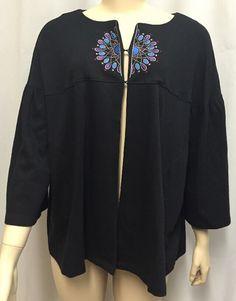 Bob Mackie Wearable Art Top Jacket 1X Plus Cardigan Womens Embroidered Design #BobMackieWearableArt #CapeletJacket #EveningOccasion