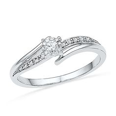 1//10 cttw, 3 Diamond Promise Ring in 10K Pink Gold Size-5.5 G-H,I2-I3