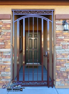 """""""Arched Look"""" Wrought Iron Front Entry Gate Front Door Steps, Double Front Doors, Front Entry, Door Grill, Grill Door Design, House Entrance, Entrance Doors, Metal Gate Door, Steel Gate Design"""