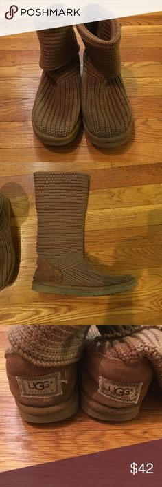 Authentic short/tall Uggs ❄️ Excellent condition.  So versatile.  These uggs are great because they can be worn tall or short when folded over.  They are also knit so they can be worn in light rain or snow without staining! UGG Shoes