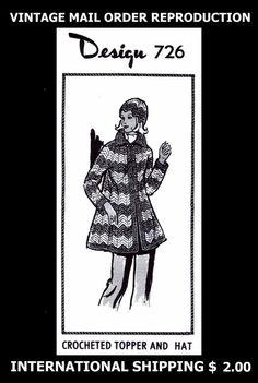 726 Design Vint 70's CROCHETED Crochet JACKET TOPPER COAT HAT Crocheting Pattern #PATTERNPEDDLER726