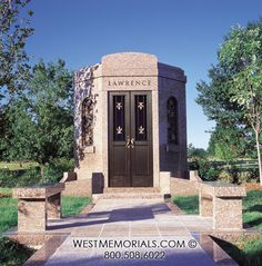 Discover our beautiful bird granite mausoleum design featuring a gorgeous floral arrangement and a bronze decorative door. Contact us if you love this design. 2017 Design, Design Development, Beautiful Birds, Granite, Temple, This Is Us, Construction, Mansions, Architecture