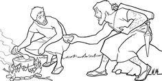 This picture activity is based on the Bible story of Jacob and Esau. Write the name of each person next to his or her picture, and then color the picture.
