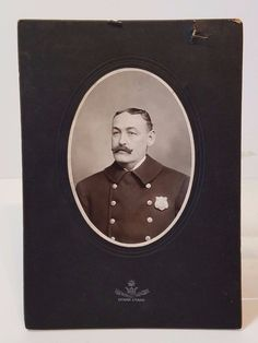 Vintage Antique Police Officer Cabinet Photo Card Reading Photograph Policeman