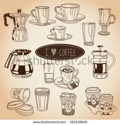 Hand drawn coffee and tea cups set. Vector icons collection. Vintage. Menu. - stock vector