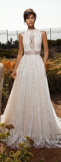 Gala by Galia Lahav 2017 Wedding Dresses — Bridal Collection no. III galia lahav gala 2017 bridal cap sleeves high jewel neck full embellishment beaded crystals romantic glamorous a line wedding dress open low back chapel train mv Dream Wedding Dresses, Bridal Dresses, Wedding Gowns, Lace Wedding, 2017 Wedding, 2017 Bridal, Wedding Dress Sparkle, Unique Wedding Dress, 2 Piece Wedding Dress