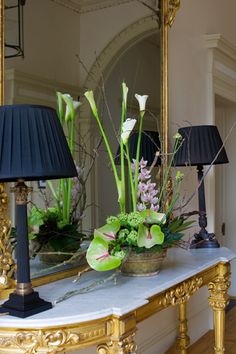 Tall Table Flower Arrangement in Office Hall