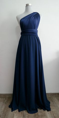 LilZoo Full Ballgown Length Convertible Infinity MultiWay Wrap Dress in Midnight Blue with Chiffon Overlay Skirt and Free infinity Bandeau