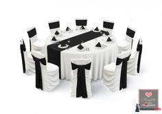 Оформление стола в черно-белом цвете. белые и черные банты,чехлы на стулья, скатерть,салфетки. Аренда праздничного декора.Интернет-магазин на нашем сайте., ВАРИАНТЫ ОФОРМЛЕНИЯ СТОЛА, Текст, Свадебное оформление и флористика