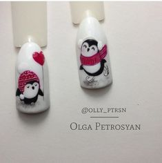 Stunning gel nail art I love. Holiday Nail Designs, Fall Nail Art Designs, Cute Nail Designs, Holiday Nails, Christmas Nail Art, Nail Swag, Penguin Nails, Nail Art Noel, May Nails