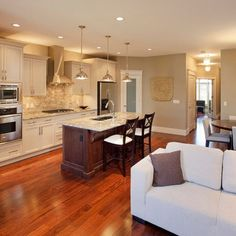Kitchen Open Concept Kitchen Design, Pictures, Remodel, Decor and Ideas - page 11 Living Room Kitchen, Kitchen Decor, Kitchen Design, Kitchen Ideas, Kitchen Colors, Kitchen Paint, Kitchen Layout, Kitchen Open Concept, Open Kitchen