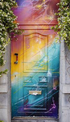 Brussels, Belgium Cool Doors, Unique Doors, Exterior Design, Interior And Exterior, Painted Doors, Door Knockers, Home Design, Windows And Doors, Wall Murals