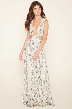 A sleeveless woven maxi dress featuring an allover floral print with a plunging V-neckline, a self-tie cutout back, an elasticized waist, and cutout sides. This is an independent brand and not a Forever 21 branded item.
