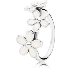 Pandora Ring - Sterling Silver & Enamel Darling Daisies (3,770 INR) ❤ liked on Polyvore featuring jewelry, rings, accessories, enamel jewelry, pandora rings, daisy jewelry, sterling silver jewelry and daisy ring