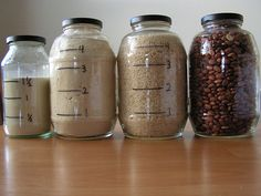 Jars reused for food storage — with measurements! Check out the photographer's blog for various jar reuse and repurposing ideas; she posted one item a day for a month.