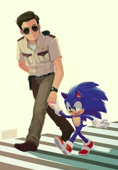 """""""Lord Donut showing Lil Sonic how to cross the streets respecting the law 👊 Wanted to try something different this time! helped me a lot to distract myself from stress too 💙 I'm still in love with this movie"""" Sonic The Hedgehog, Hedgehog Movie, Hedgehog Art, Shadow The Hedgehog, Sonic Funny, Sonic 3, Sonic Fan Art, Dragon Rey, Sonic The Movie"""